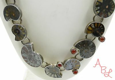 """Paul Russel Sterling Silver Vintage 925 Rare Ammonite Necklace 20"""" (144g) 601848"""