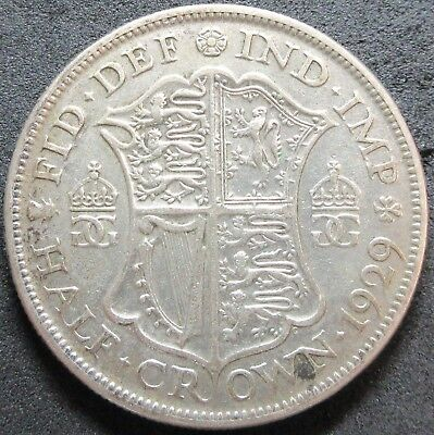 1929 Great Britain .2273 Ounce Silver Half Crown Coin