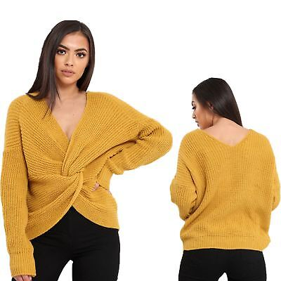 Ladies Chunky Knit Reversible Knot Wrap Twist Slouch Fit Baggy Top Jumper