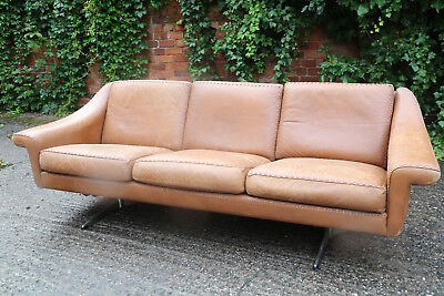 Vintage Danish Tan 'Baseball stitch' 3-seat sofa mid-century