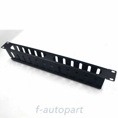 "Universal 19"" 1U Horizontal Rack Mount Cable Management Unit with Plastic Panel"