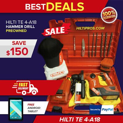 Hilti Te 4-A18, W/ Hilti Hard Case, Preowned, Strong, Free Bits, Fast Ship