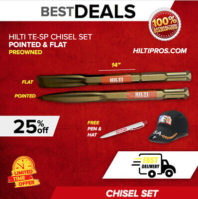 Hilti Pointed And Flat Chisels Te-Sp, For Te 805, 905, 1000, 1500, Fast Ship