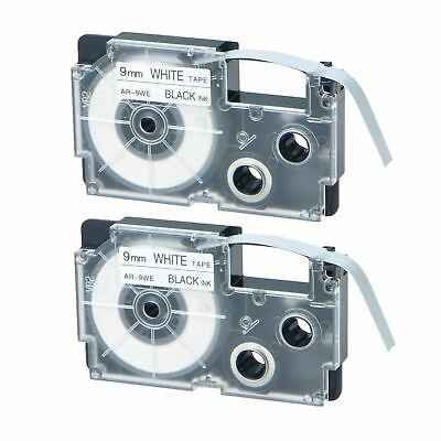 2PK Compatible Casio XR-9WE Black on White Label Tape for EZ Printer KL-7000