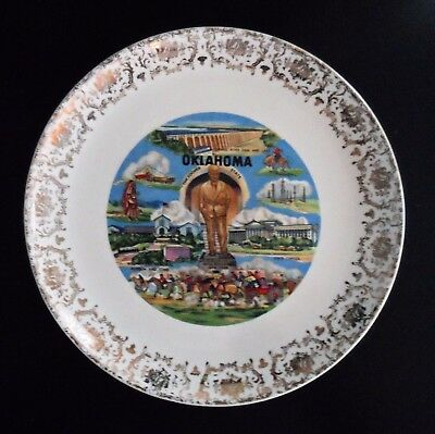 VINTAGE STATE SOUVENIR PLATE OKLAHOMA 1950s - 1960s SALEM CHINA CO. USA