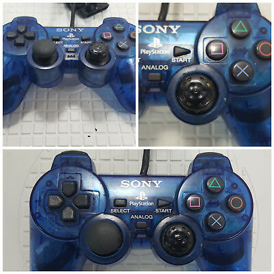 Genuine Sony Playstation (PS2) Dualshock 2 Controller -Clear Blue -Works