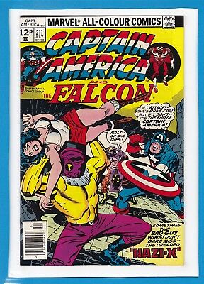 Captain America & The Falcon #211_July 1977_Nm Minus_Red Skull_Jack Kirby_Uk!