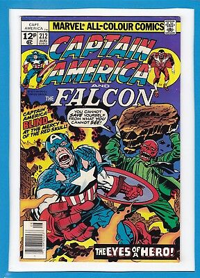 Captain America & The Falcon #212_August 1977_Very Fine_Red Skull_Jack Kirby_Uk!