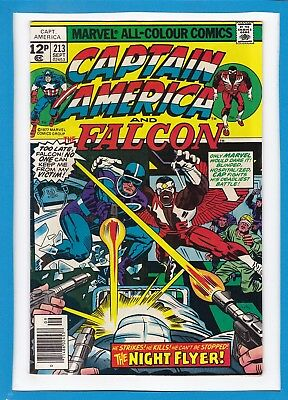 "Captain America & The Falcon #213_Sept 1977_Vf+_""night Flyer""_Jack Kirby_Uk!"