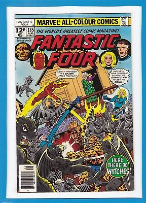 "Fantastic Four #185_August 1977_Vf Minus_""here There Be Witches""_Bronze Age_Uk!"