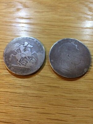 Two George III Silver Crown Coins