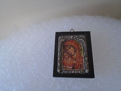 antique style miniature byzantine silver plated religious icon plaque WOW LOOK
