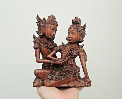 Beautiful Hand Carved Wooden Statue Of Young Lovers - South East Asia - Detailed