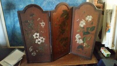 antique three fold screen for a table / fire screen
