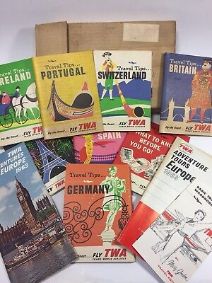 Large Lot Of Vintage 1960's TWA Travel Brochures Books Europe