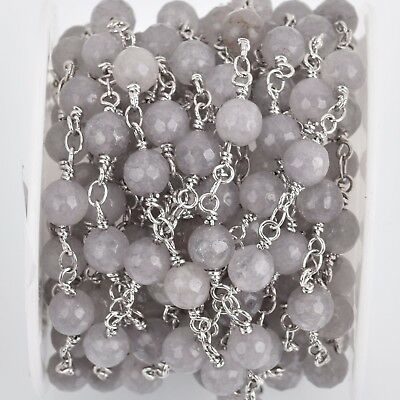 3ft GREY JADE GEMSTONE Rosary Chain, silver links, 6mm round faceted fch0808a