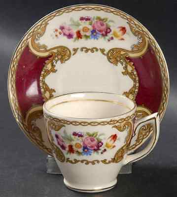Myott Staffordshire THE BOUQUET MAROON Demitasse Cup & Saucer 4570747