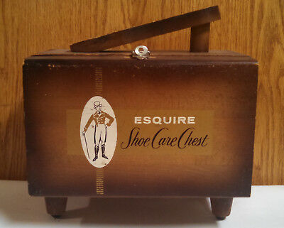 Vintage Antique Esquire Shoe Shine Care Chest Kit Wood Box With Foot Stand
