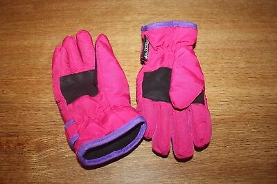 Girls Thinsulate Gloves - Padded, Waterproof, Straps, Clip , Age 3-6