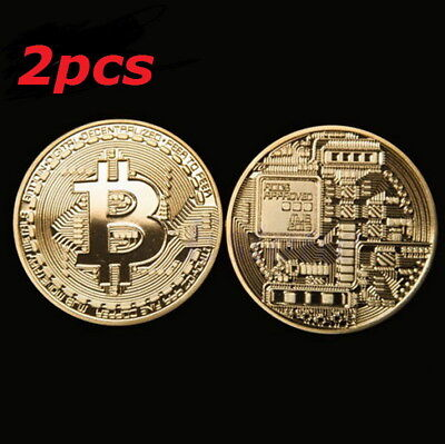 2 X Gold Plated Bitcoin Coin Collectible Gift Physical BTC Coin Art Collection