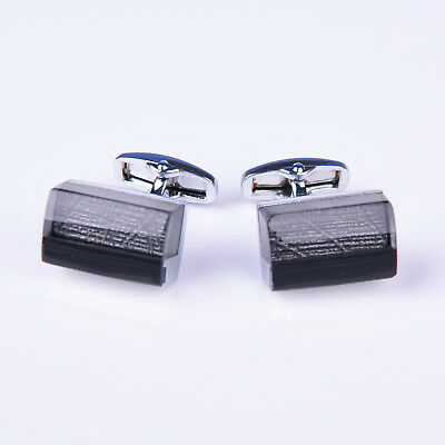Black Button Men's Cuff Links Sexy Luxury Fashion Silver Jewelry Cufflinks