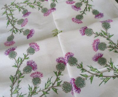 Vintage Tablecloth - Hand Embroidered Thistles - Linen