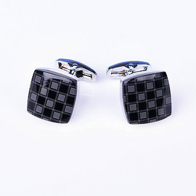 Black Square Button mens Cuff Links Sexy Luxury Fashion Silver Jewelry Cufflinks