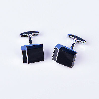 Black Unique Button mens Cuff Links Sexy Luxury Fashion Silver Jewelry Cufflinks
