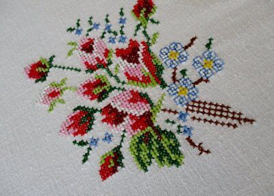 "VINTAGE TABLECLOTH HAND EMBROIDERED TINY CROSS STITCH-52""sq."