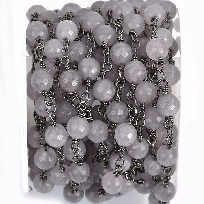 3ft GREY JADE GEMSTONE Rosary Chain, gunmetal links, 6mm round faceted fch0800a
