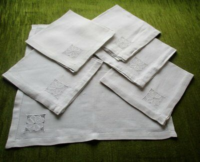 Antique Tea Napkins Hand Embroidery Decoration - Linen - Set 6