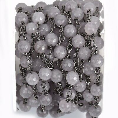 13ft GREY JADE GEMSTONE Rosary Chain, gunmetal links, 6mm round faceted fch0800b