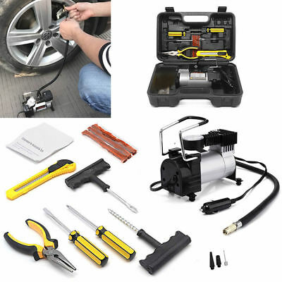 Portable 12V Electric Car 4x4 Auto Air Compressor Pump Puncture Tyre Repair Kit