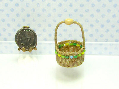 Dollhouse Miniature Handcrafted Wicker Beaded Basket by Wilhelmina #1