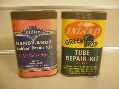 Vintage Oval Tube Tire Repair Pocket Patch Kits x2 Green Top & Miller Handy Andy