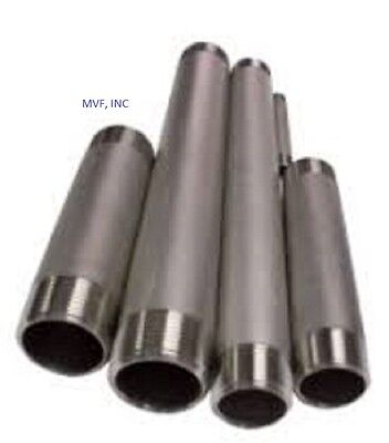 "1-1/4"" x 8"" Threaded NPT Pipe Nipple S/40 304 Stainless Steel BREWING <SN255"