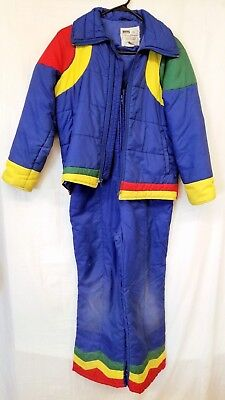 Vtg Rainbow Youth Kids Size 14 Snow Suit 2 Piece Jacket Pants Bright Blue Winter