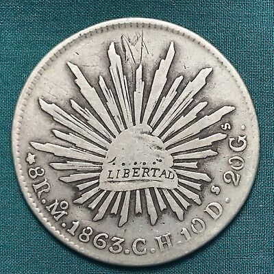 1863 Republica Mexicana Mexico 2nd Republic 8 Reales Large Silver Coin