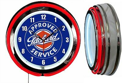 """Packard Approved Service 19"""" Double Neon Clock Choice of Red or Blue Neon"""