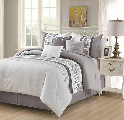 7-piece Charcoal Gray White Floral Embroidery Striped Pleated Comforter Set