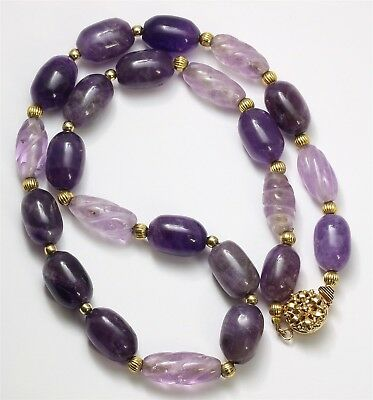 Vintage Chinese Export Hand Carved Amethyst Spiral Bead Floral Choker Necklace