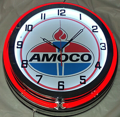"Amoco Oil Gas Vintage Logo 19"" Double Neon Clock Red Neon Chrome Finish"