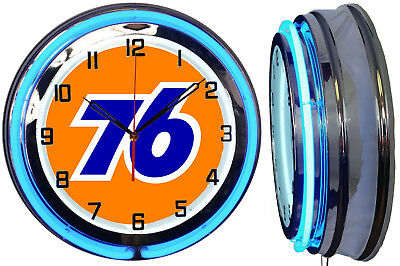 "Union 76 Gas 19"" Double Neon Clock BLUE Neon Chrome Finish Gas Station"