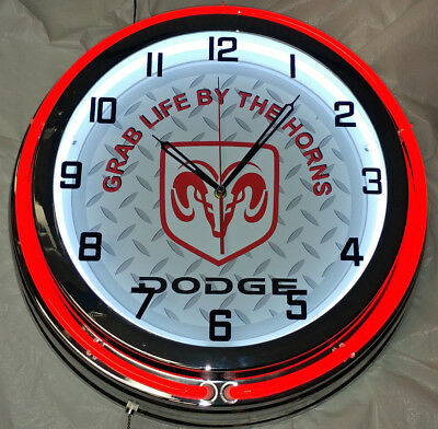 """Dodge Grab Life By The Horns Ram Truck 19"""" Double Neon Clock Red Neon Garage"""