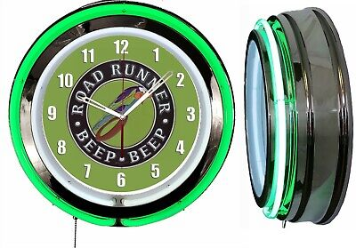 "Plymonth Road Runner BEEP BEEP 19"" Double Neon Clock Green Neon Chrome Finish"