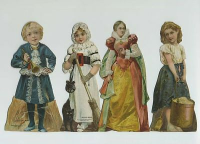 Lot (4) 1800's Die Cut Stand Up Dolls Advertising Trade Cards Coffee bv2835