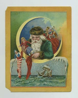 1800s Lion Coffee Advertising Trade Card Christmas Santa Claus Green Suit bv2786