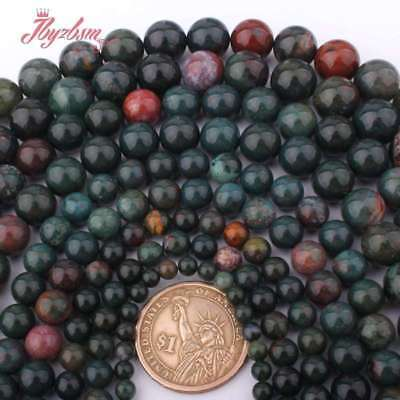 """4,6,8,10,12mm Round Ball Natural Bloodstone Heliotrope Stone Spacer Beads 15""""DIY"""