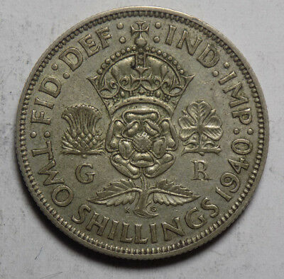 Great Britain 1940 2 Shillings Silver Coin