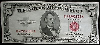 1953A United States Note $5 Red Seal Nice Au